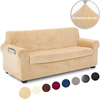 TIANSHU Fleece Slipcover 2 Piece, Velvet Plush Couch Cover for Sofa, Stylish Luxury Furniture Covers with Utility Pockets (Sofa, Warm Sand)