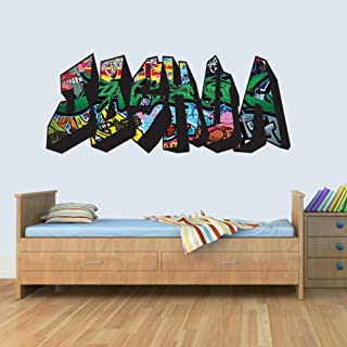 L Customisable Graffiti Childrens Name Wall Art Decal Vinyl Stickers for Boys/Girls Bedroom