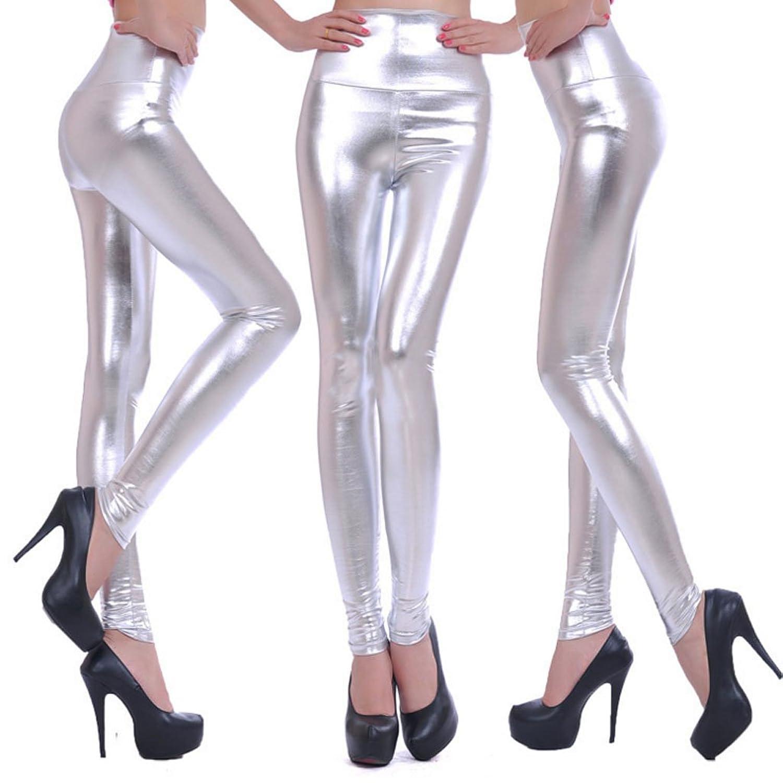 セクシー 女性 ハイウエスト ソリッドカラー 伸縮性 PUレザー 高弾性 レギンス ズボン 全5色3サイズ
