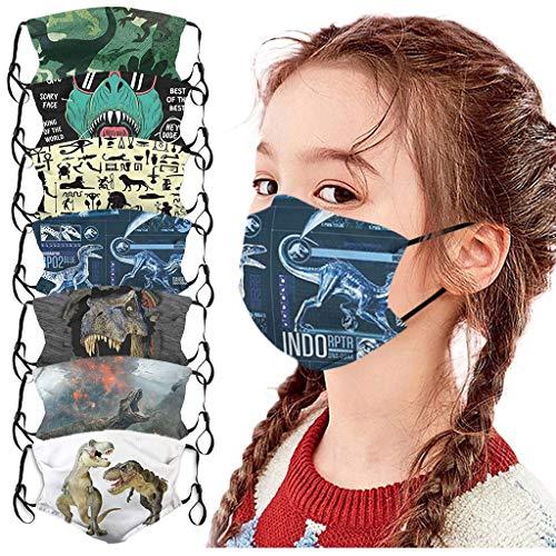 Sannysis 5 Stück Kinder Gesicht Bandanas Mund Und Nasenschutz Gedrucktes Dinosaurier Muster Gesicht Mundschutz Atmungsaktiv Waschbar für Jungen und Mädchen (Multi-7PCS)