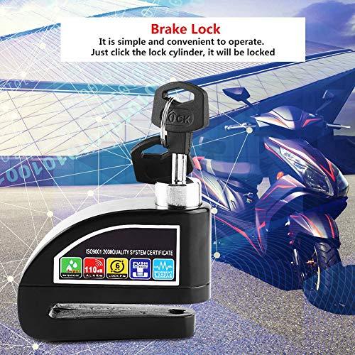 Bloqueo de disco del sistema de alarma de seguridad de alarma de bicicleta, bloqueo de freno, para bicicleta para vehículos(black, white)