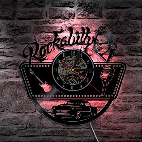 mubgo Wanduhren Rockabilly Schallplatte Wanduhr Modernes Design Rockmusik Uhren Stumm Vintage Led Licht Wanduhr Kunst Dekor Für Musikliebhaber Beleuchtet