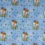 Baumwolljersey kleiner Indianer Fuchs hellblau Kinderstoffe