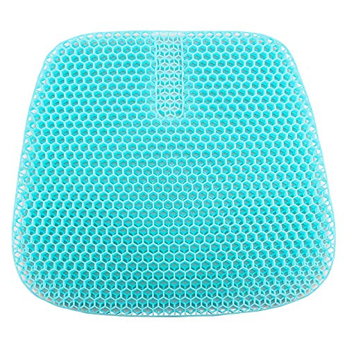 WWLONG gel cooling chair cushion pad for wheelchair, breathable honeycomb jelly cushion, refreshing pad, Orthopaedic seat cushion Ideal for car, office-green