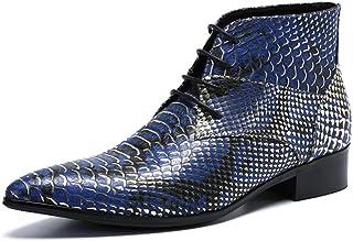 QZX Shoes Hommes Chaussures à Lacets, Bottes De Cowboy Occidentales pour Hommes, Cheville à Bout Pointu Bottes en Cuir Pea...