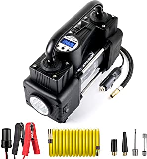 AutoVirazh Dual Cylinder Portable Air Compressor for Car Tires. 12V Heavy Duty Electric Air Pump & 150 PSI Tire Inflator with LCD Digital Display Gauge for Car Tires, Balls, Other Inflatables