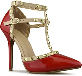 Premier Standard Women's Pointed Toe Studded Strappy High Heel Leather Pumps Stilettos Sandals