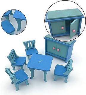 Wooden Colorful Dolls House Furniture Toys Set Miniature Models DIY Assembled Toys (Blue Restaurant)