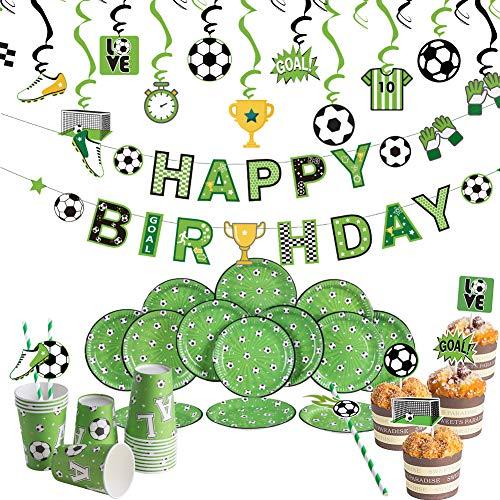 SUNBEAUTY Fussball Geburtstag Partygeschirr Happy Birthday Banner 16 Pappbecher, 16 Pappteller, 20 Strohhalme, 24 Cake Toppers, 24 Spiralen Kindergeburtstag Partyzubehör Fußball Party Dekoration