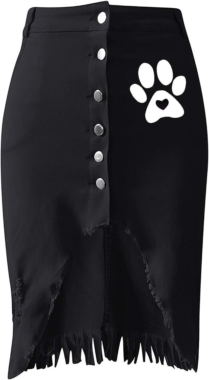 RNUYKE Women's High Waist Button Decor Above-The-Knee Casual Pencil Asymmetrical Skirt