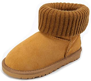 Girl's Boy's Winter Snow Boots Warm Fur Fold-Over Sweater Cuff Winter Outdoor Flat Ankle Booties (Toddler/Little Kids)