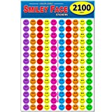 Pack of 2100 Happy Face Smiley Stickers, 3/4' Round, Bright Neon Colors, Great for Teachers