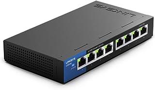 Linksys LGS108-EU - Unmanaged Switch Gigabit de Escritorio para Empresas (8 Puertos, optimización del Rendimiento, Ahorro de energía, Plug and Play), Negro