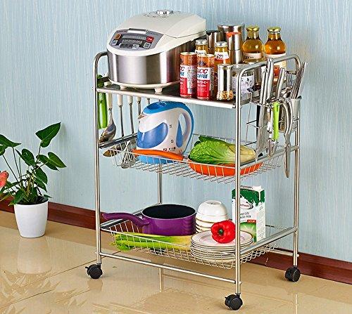BOBE SHOP- Acier inoxydable 304 Ustensiles de cuisine multi-fonctions Étagères de rangement, étagères de cuisine étagères étagères Porte-four à micro-ondes ( Couleur : Trois couches )