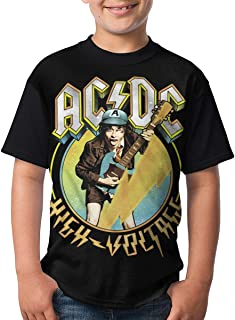 Kmehsv Niño Camisetas de Manga Corta, ACDC T Shirts Youth Round Neck Shirt Teenager Boys Personality Tees