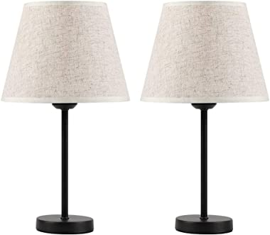 HAITRAL Bedside Table Lamps - Small Nightstand Lamps Set of 2 with Fabric Shade Bedside Desk Lamps for Bedroom, Living Room,