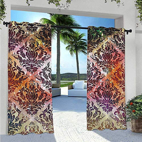 Print Curtains Abstract Watercolor Chandelier Oriental Victorian Ornamental Indoor Outdoor Deck Curtain Sun Light Blocking Waterproof Coral Yellow Purple Green W96 x L84 Inch