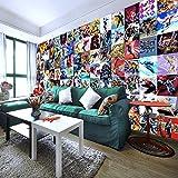 RQWBH Selbstklebende Tapete 3D Wandbild (B) 350X (H) 256Cm Comic Tapete 3D Wandbild Super Hero Film Fototapete Kinder Junge Schlafzimmer Wohnzimmer Sofa Tv Hintergrund