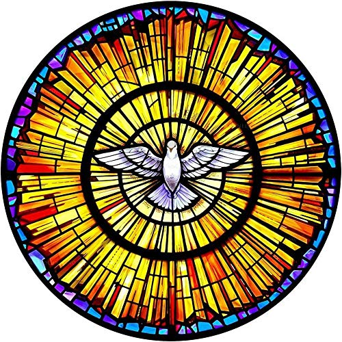 HQSM Wandtattoo Stained glass dove 3d window view decal wall sticker home decoration art mural