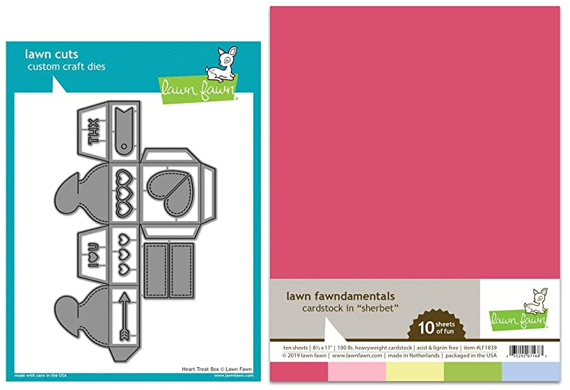 Lawn Fawn Heart Treat Box Die and Sherbet Cardstock Pack