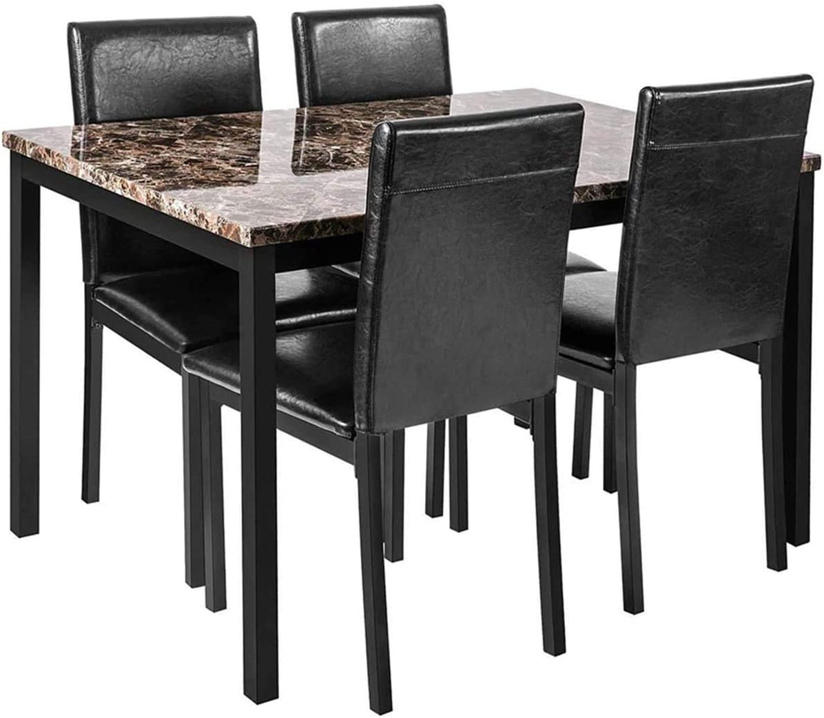 Faux Marble Dining Set for Small Spaces Kitchen 9 Table with Chairs Home  Furniture, Black