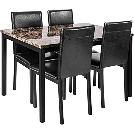 Faux Marble Dining Set for Small Spaces Kitchen 4 Table with Chairs Home Furniture, Black