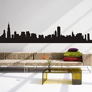 Custom Chicago Skyline Silhouette Vinyl Art Wall Decal&Mural For Living Room (Medium,Black)