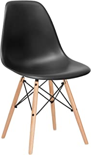 Poly and Bark Modern Mid-Century Side Chair with Natural Wood Legs for Kitchen, Living Room and Dining Room, Black