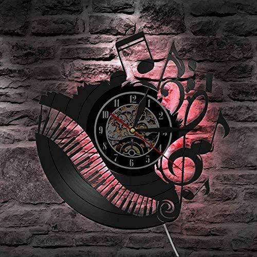 Notas musicales piano aula disco de vinilo reloj de pared músico pianista maestro artista de pared decoración del hogar lámpara de pared regalo de amante de la música