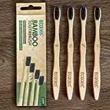 ECO365 Bamboo Toothbrush with Charcoal Infused Bristles (Pack of 4)