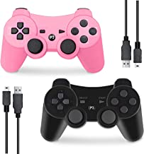 $22 » PS3 Controller Wireless, Gaming Remote Joystick for Playstation 3 with Charger Cable Cord (Pink, Black)
