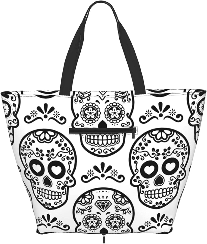 Shoulder Ranking TOP19 Tote Bag Mexican Sugar Skull San Jose Mall Handle Sat Purse White Top