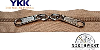 YKK #5 CN Zipper coil chain. Each yard comes with 2 sliders. (Tan, 5 yard, 10 nickel sliders)
