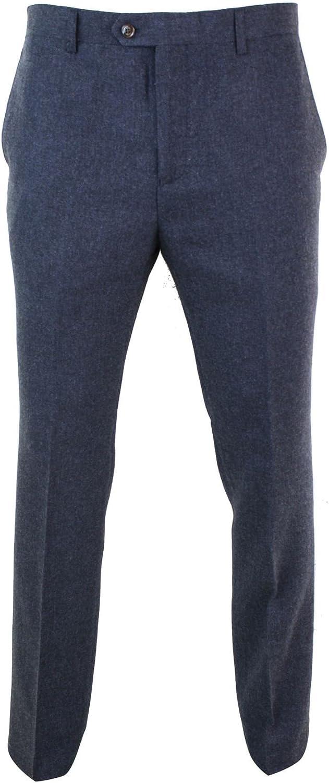 1920s Men's Pants, Trousers, Plus Fours, Knickers CAVANI Mens Herringbone Tweed Vintage Retro Check Wool Trousers Peaky Blinders Classic Navy-Blue-macy 30 $74.24 AT vintagedancer.com