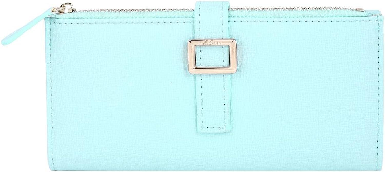 Damara Womens Belt Fasten Card Case Simple Zipper Wallet,Light bluee