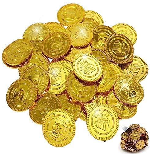 BESTZY 100 Piezas Monedas Pirata Monedas de Oro plástico Juguete Monedas de Oro Falsas,Monedas de plástico Falsas de Oro Oscuro,plástico,Dark Gold,Coins