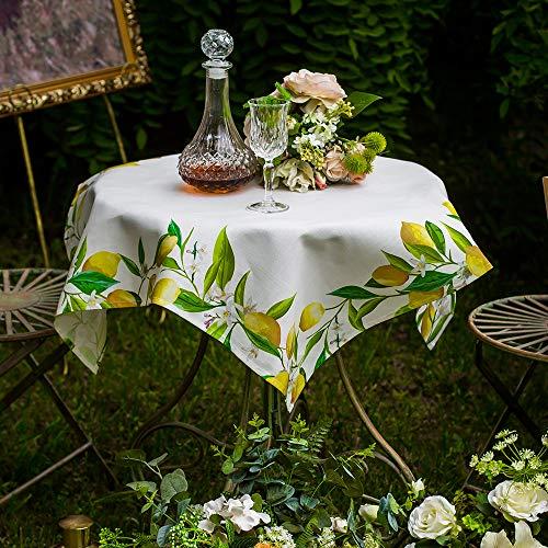 ARTABLE Tovaglia quadrata e rettangolare, runner da tavola con federe, stampa limone, decorazione per la casa e il giardino (verde, bianco, 85 x 85 cm)