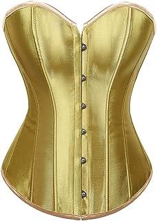 ملابس داخلية هالوين كورسيه مشد قوطي للزفاف (اللون: ذهبي، المقاس: متوسط)