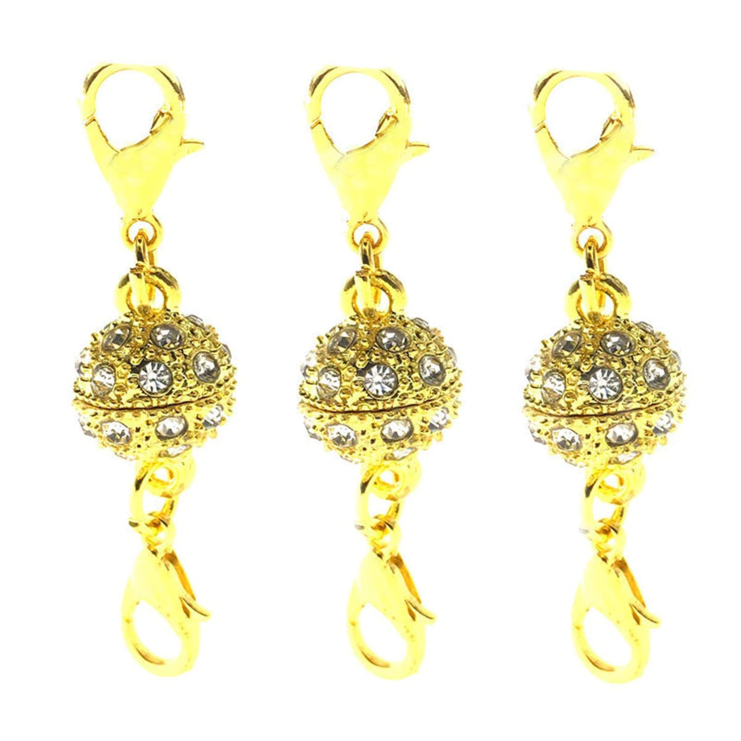 Set of 10 Easy Magnetic Lobster Clasp Converters for Jewelry Necklace Bracelet Rhinestone Ball Style Strong Lobster Closure (Gold)