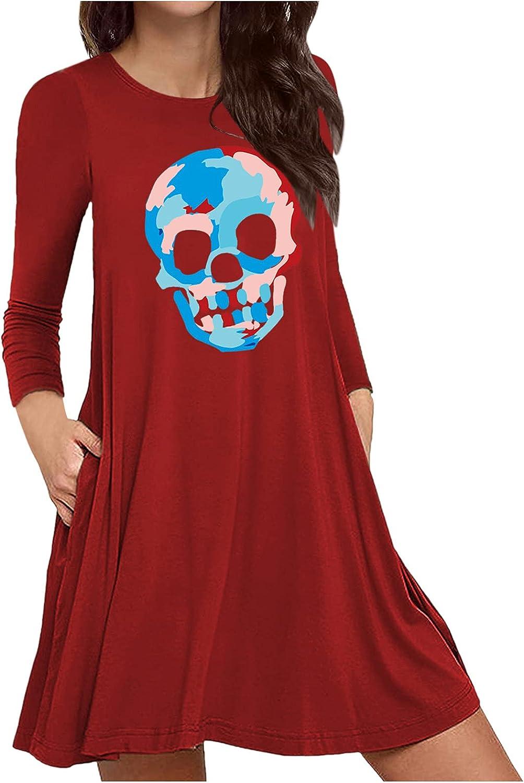 T Shirt Dress for Women Halloween Pumpkins Skull Crewneck Long S