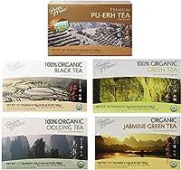 紅茶、ジャスミン、緑茶、ウーロン茶、ホワイトティーなど、オーガニックティーバラエティーpkが含まれています。各箱100茶袋(5パック)