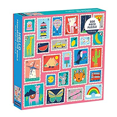 Mudpuppy Hello from Around The World 500 Piece Jigsaw Puzzle for Kids and Families, Family Puzzle with Colorful Worldwide Stamps, Great for Family Time, Promotes Problem-Solving