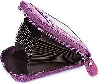 Goleng Genuine Leather Holder Zipper Credit Card Wallet RFID Credit Card Wallet with ID Card Window-Purple