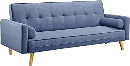 3-Seater Fabric Sofa Bed Linen Modular Lounge Suite Futon Couch Chaise Blue
