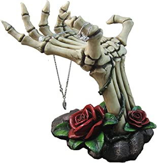 Spooky Skeleton Hands Jewelry Stand with Tray Display Rack and Red Roses or Decorative Key Holder Statue for Scary Hallowe...