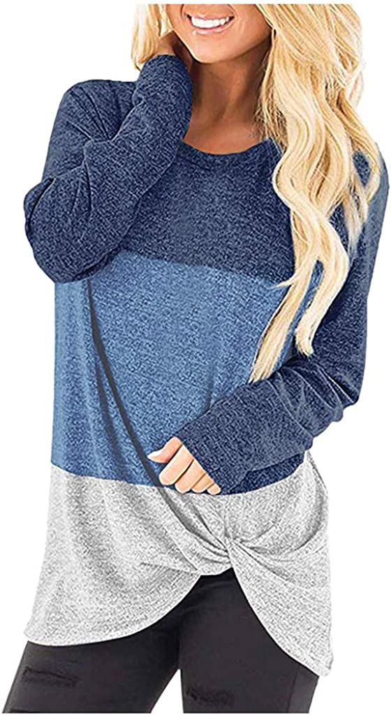 POTO Tops for Womens Color Block T-Shirts Tops Cround Neck Long Sleeve Pullover Sweatshirt Twist Knot Blouse
