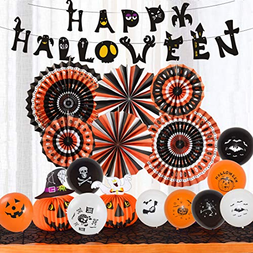 Halloween Party Supplies Hanging Paper Fans Honeycomb Balls Tissue Pom Pom Banner Tassel Garland Balloon Set Decoration Black Orange (Halloween Style 2)