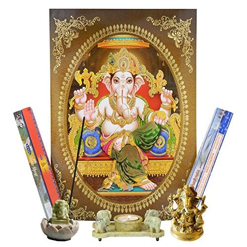 Altar Set Ganesha mit Bild, Räucherstäbchenhalter, Teelichthalter, Messingfigur und Räucherstäbchen Dekoration...