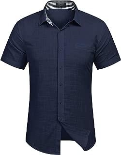 Men's Regular-Fit Short-Sleeve Solid Linen Cotton Shirt Casual Button Down Beach Shirt
