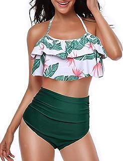 comprar comparacion heekpek Conjunto de Bikini Mujer de Cintura Alta Traje de Baño de Dos Piezas Volantes Correas de Espagueti Bañador Plisado...